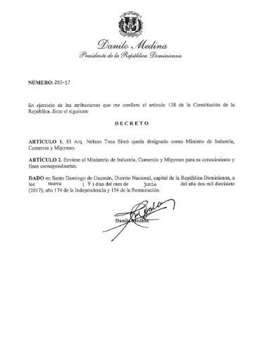 Presidente Medina nombra nuevo ministro de Industria y Comercio