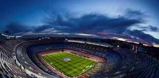 Vista aérea del Estadio de fútbol Camp Nou