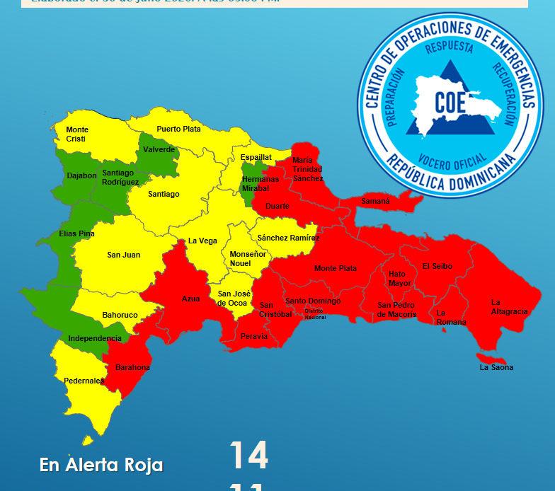 COE eleva a 14 las provincias en alerta roja
