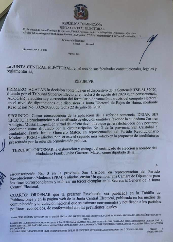 Sentencia del TSE quita dos diputaciones al PLD y se las otorga al PRM y PHD