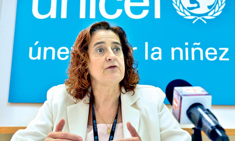 Representante en el país del Fondo de las Naciones Unidas para la Infancia o (Unicef), Rosa Elcarte.