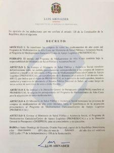 Decreto sobre transferencias de compras en MSP.