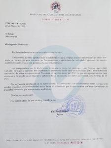 Carta del Rector del ITSC.