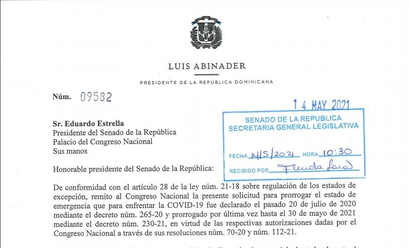 Abinader solicita otra extensión del Estado de Emergencia por 45 días más