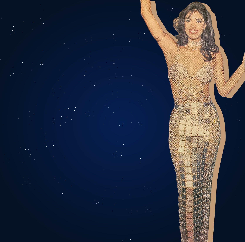 El vestido de metal que llevó Lizbeth Santos del diseñador Luis Rivas.