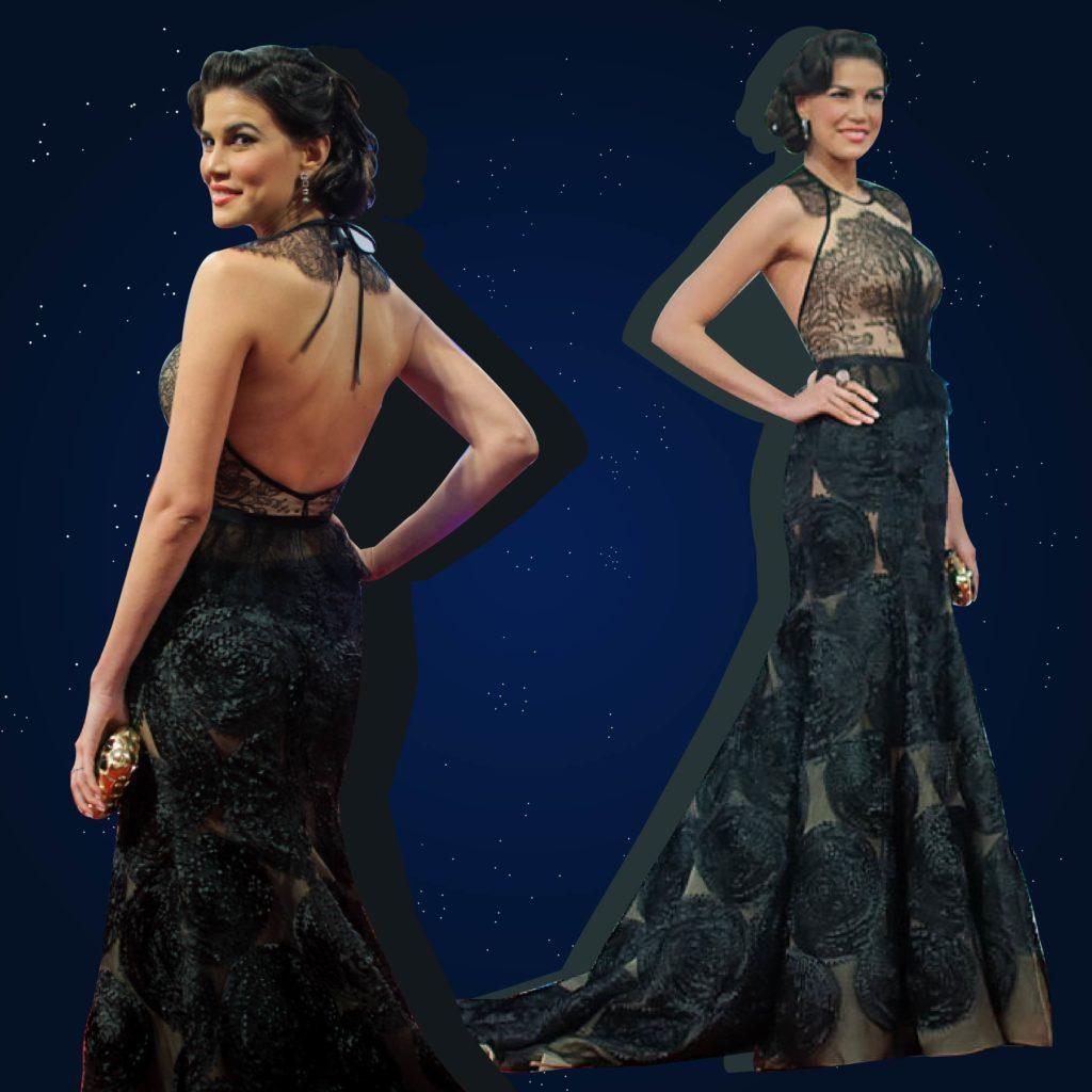 Marianne Cruz, en un vestido negro de encaja de Gutiérrez-Marcano.